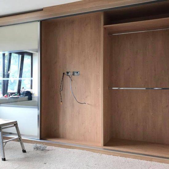 sliding wardrobe half built