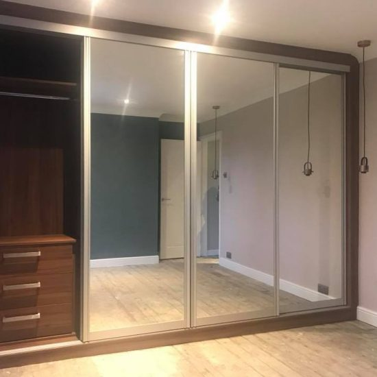 walnut and mirror completed open
