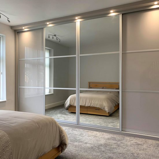 set of sliding silver wardrobe doors with lights