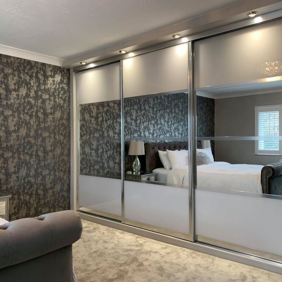 silver lined large sliding wardrobes with mirrors