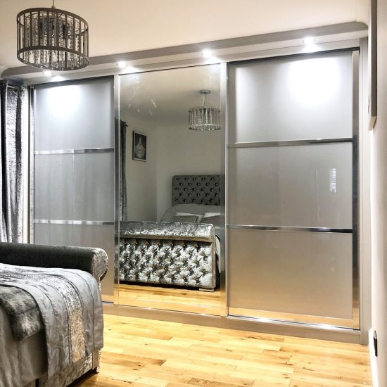 silver themed sliding wardrobes with mirror
