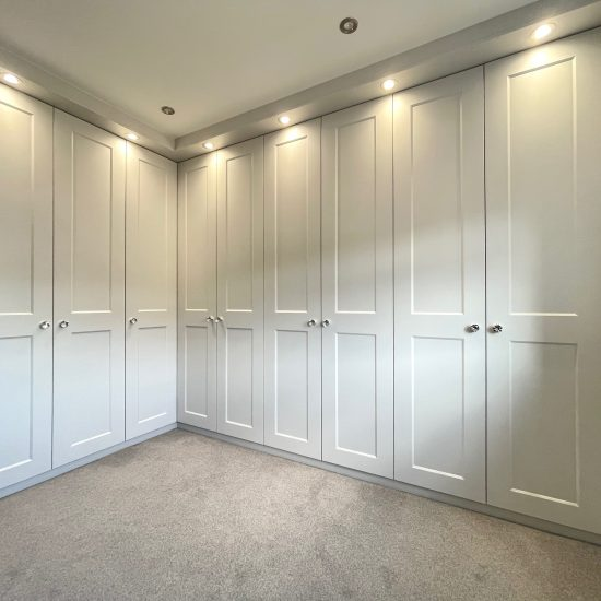light grey eclipse fitted dressing room in Sheffield by James Kilner