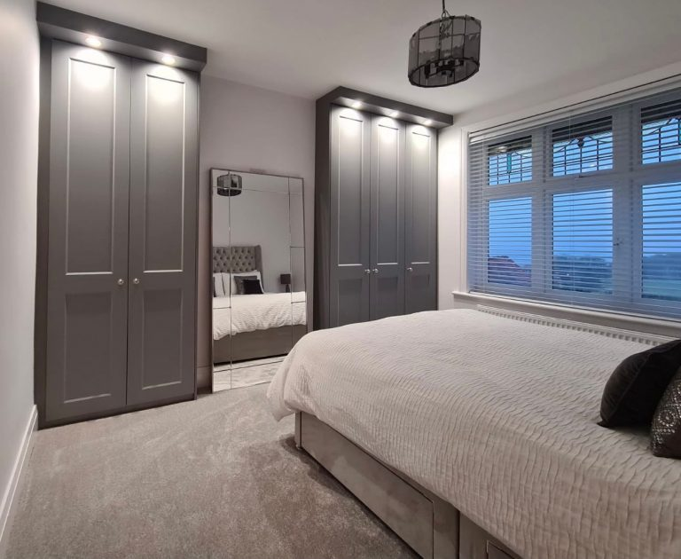 Made to measure eclipse style dust grey hinged wardrobes by James Kilner fitted in Sheffield