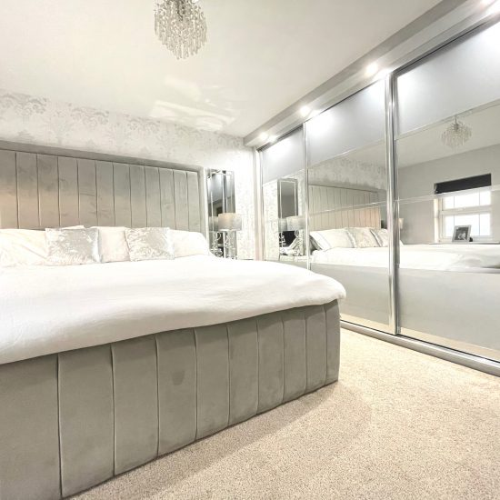 Sparkle silver & mirror sliding wardrobes fitted in Barnsley by James Kilner