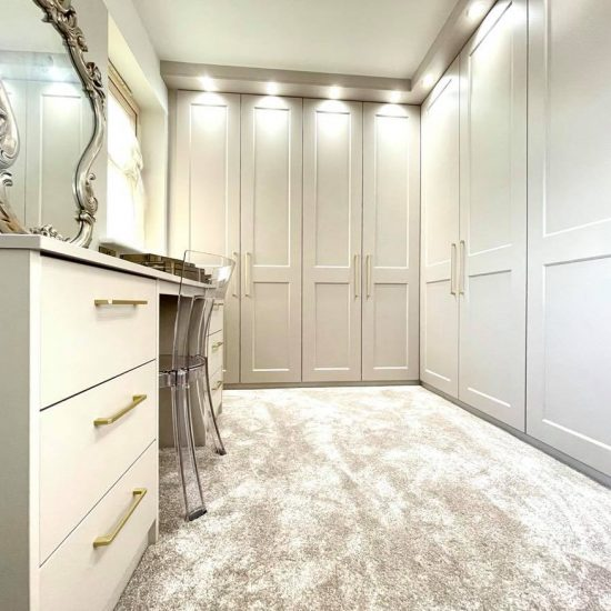 Cashmere eclipse hinged wardrobe dressing room / walk-in with gold handles & spotlights fitted in Barnsley
